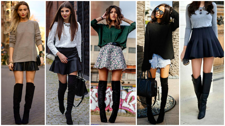 As saias são o look preferido para usar com o tipo de bota